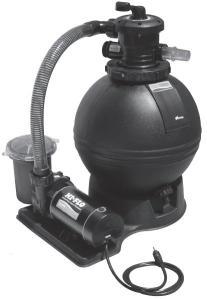 The Sand Filter and Pump Pack provides homeowners with everything they need to get their system up and running. It assures them of matched components and optimal performance with years of dependable service. Features Large filtration sand filter with durable, high flow laterals Top-of-the-Line Supreme High Performance Pump Extra large 7″ pump trap with clear lid Union connection on multi-port for easy installation Unionized gate valve to isolate the system for maintenance  	   Two 1 1/2″ diameter hoses with clamps Filter and pump mounting bases Fittings package for all connections Accessory base allows for addition of optional timer and/or Chlorinator kits for minimal maintenance (sold separately) Dual speed pump meets CEC Title 20 Code – Effective January 1, 2008