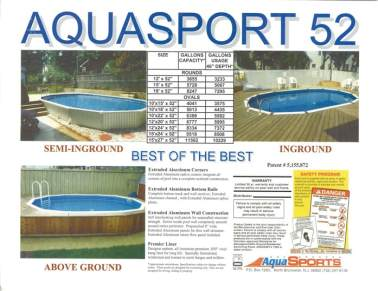 aquasport 52 wall construction, aquasport 52 pool, semi inground pool