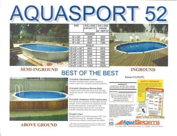 aquasport 52 wall construction, aquasport 52 pool, semi inground pool